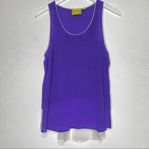 ANTHROPOLOGIE Maeve 100% Silk Indigo Tank Top